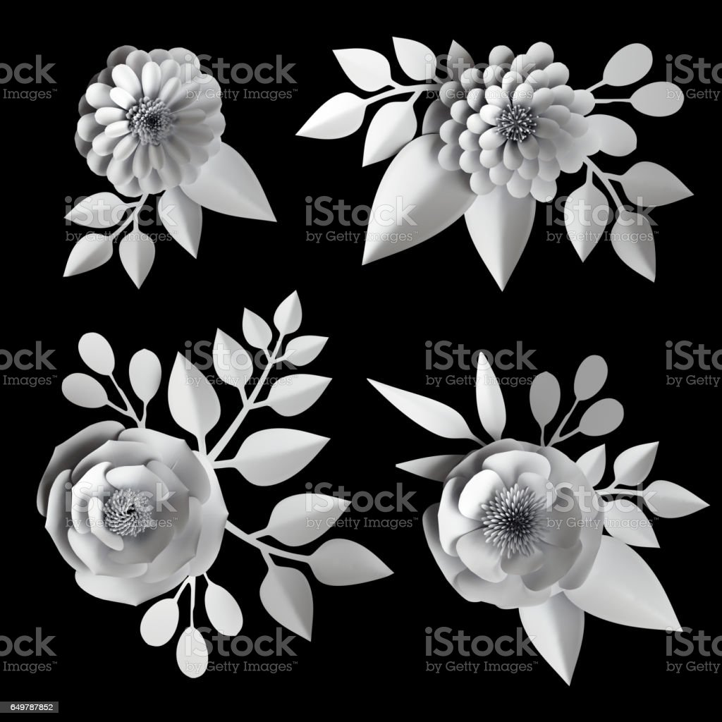 3d Render Digital Illustration White Paper Flowers Design Elements