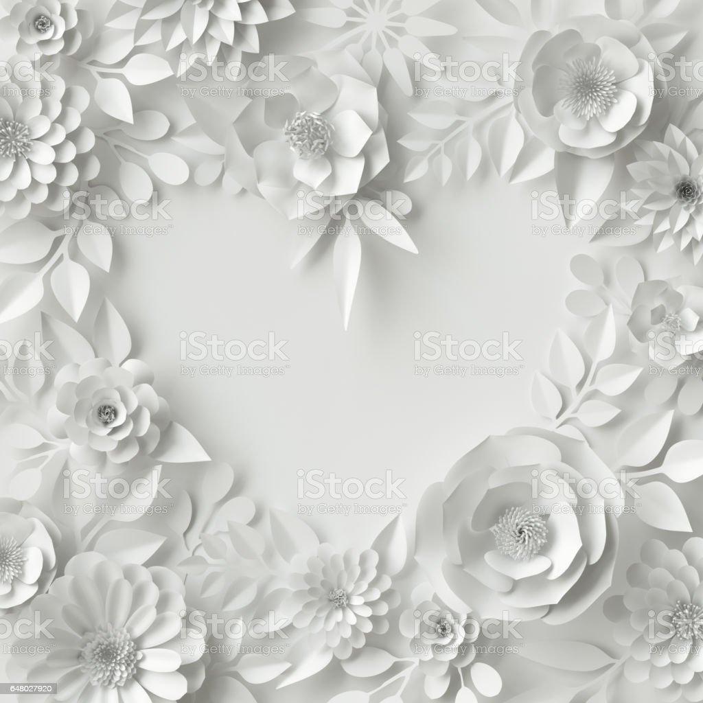 3d Render Digital Illustration White Paper Flowers Floral Background