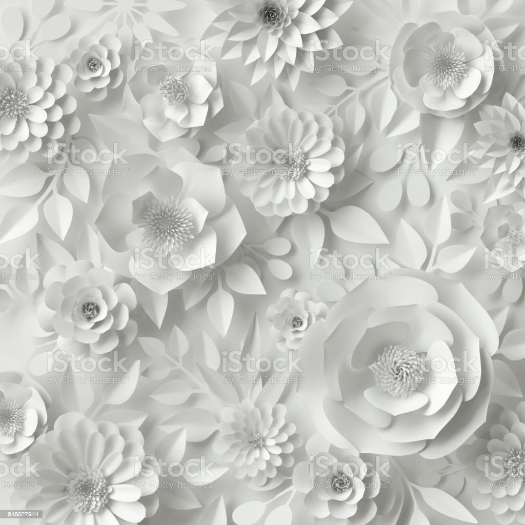 3d Render Digital Illustration White Paper Flowers Floral Background