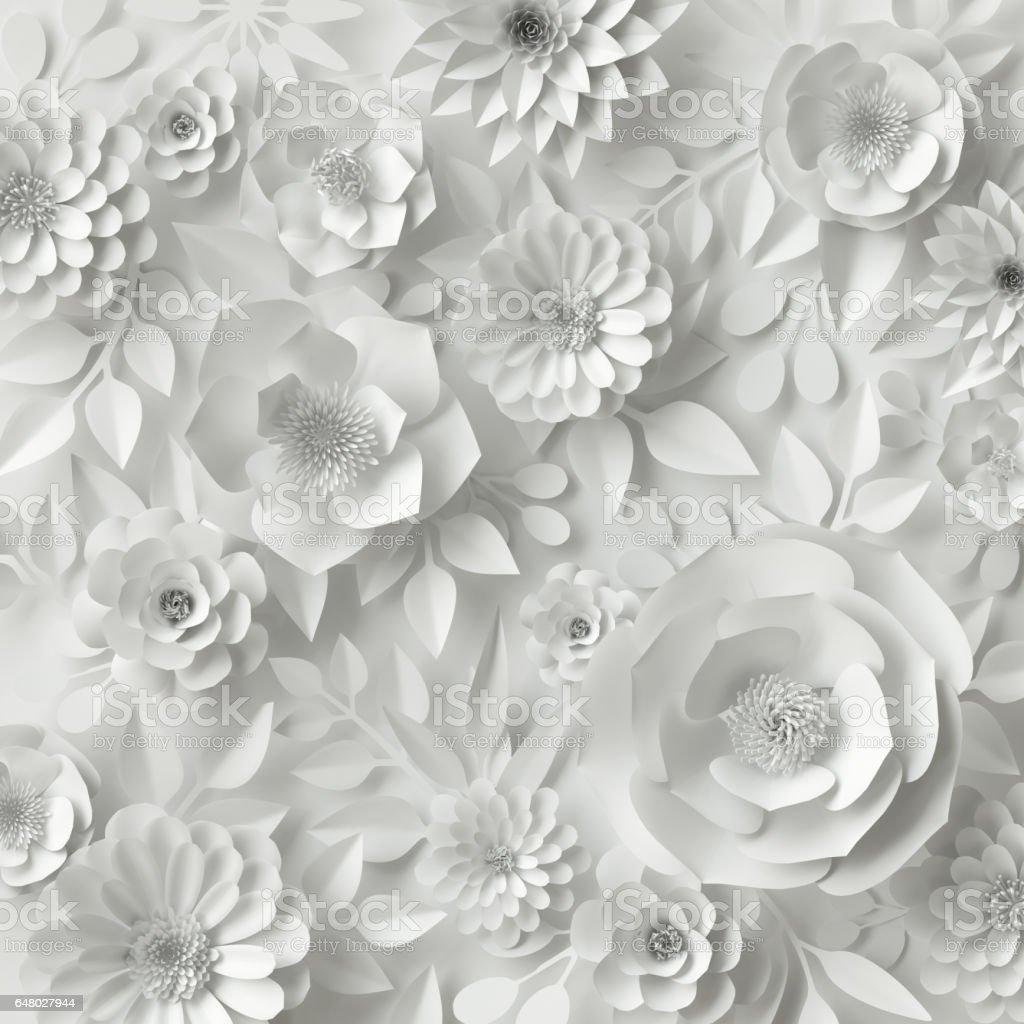 3 d レンダリング、デジタル イラスト、ホワイト ペーパーの花、花の背景、ブライダル ブーケ、ウェディング カード、クイリング、グリーティング カード テンプレート ストックフォト