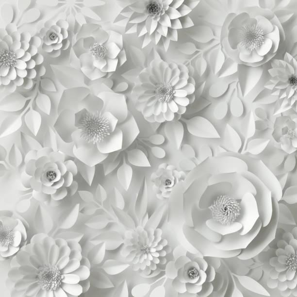 3 d レンダリング、デジタル イラスト、ホワイト ペーパーの花、花の背景、ブライダル ブーケ、ウェディング カード、クイリング、グリーティング カード テンプレート - ウェディングファッション ストックフォトと画像