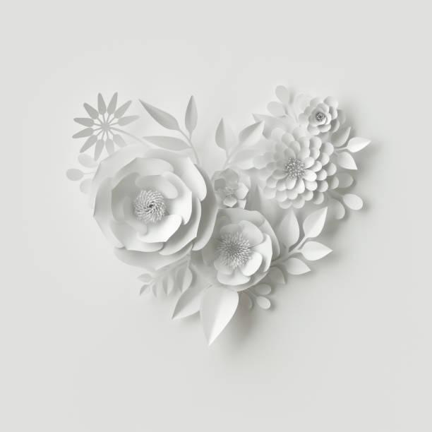 3d render, digitale illustration, weiße papierblumen, floraler hintergrund, brautstrauß, hochzeitskarte, quilling, valentinstag-grußkarte, herzform - do it yourself invitations stock-fotos und bilder