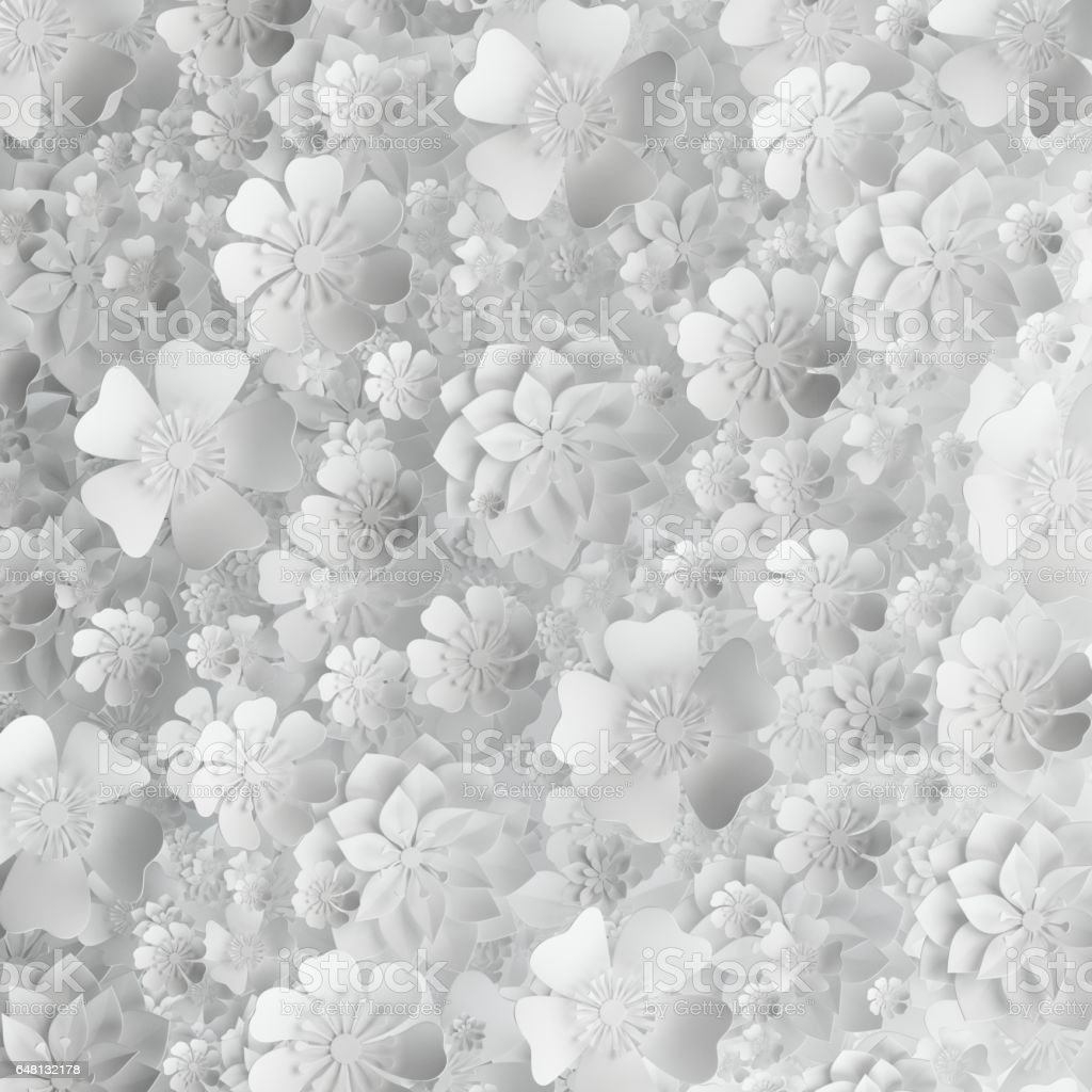 3d Render Digital Illustration White Paper Flowers Floral Background ...