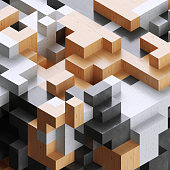 istock 3d render, digital illustration, wood and concrete blocks, abstract background, voxel pattern 940108830