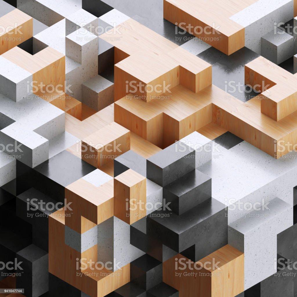 rendu 3d illustration numérique blocs de bois et béton abstrait