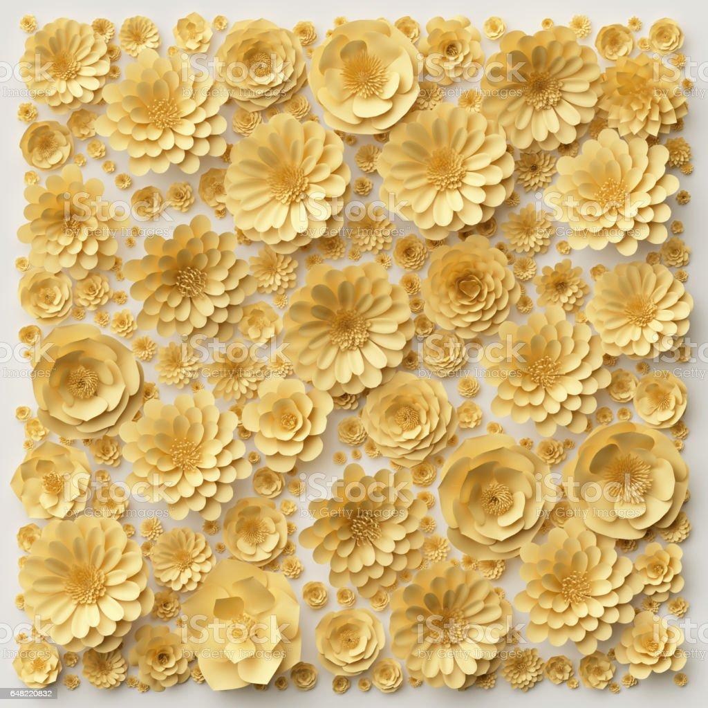 Foto De Renderiza O 3d Ilustra O Digital Flores De Papel Amarelo  -> Modelos De Papel De Parede Em Forma De Flores