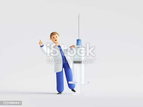 3d render. Doctor cartoon character holding big syringe with vaccine against virus. Clip art isolated on white background. Vaccination clinical research, medical healthcare concept