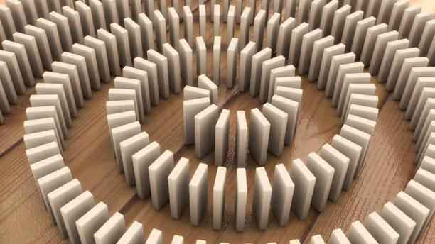 3d render domino effect stock photo