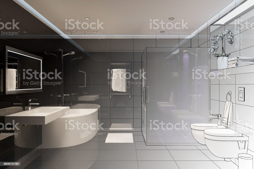 3d Render Drawing Sketch Turns Into A Real Interior Stock