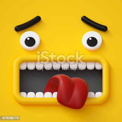 istock 3d render, emotional cartoon face, emoticon, scared emotion, screaming, yellow monster 879286770
