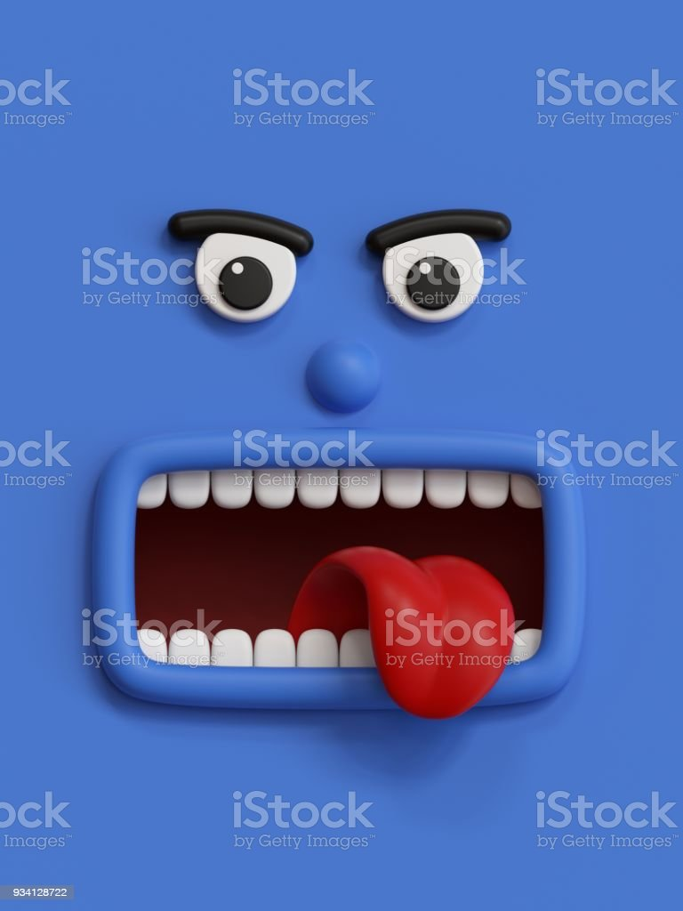 3d render, emotional cartoon face, emoticon, scared emotion,...