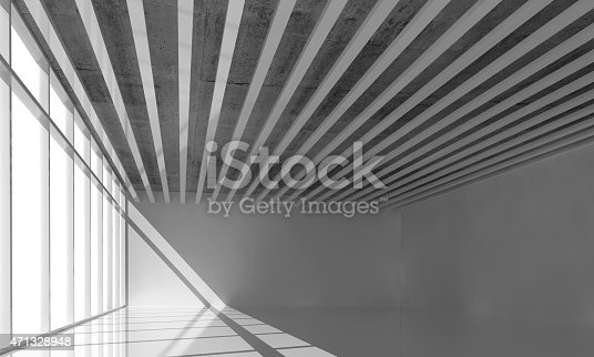 istock 3d render, empty interior with ceiling decoration 471328948