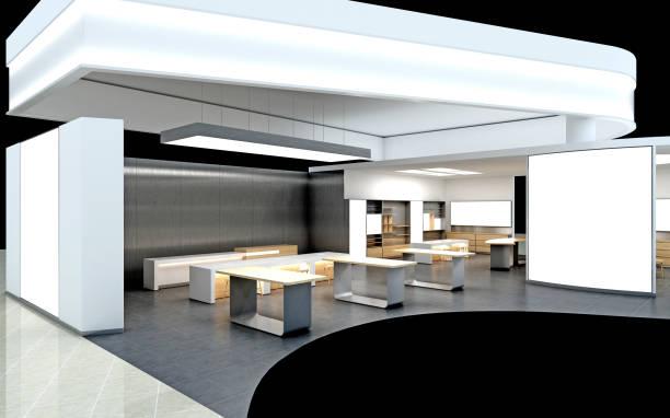 3d レンダリング展示スタンドデザイン - 展示会 ストックフォトと画像