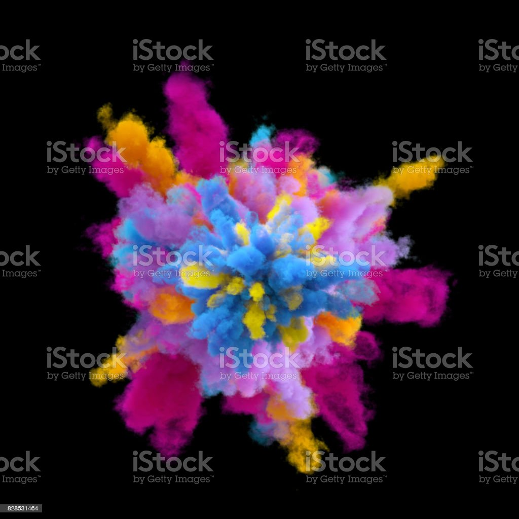 3d render, explosion of colored powder, colorant, clouds of colorful dust, isolated on black background stock photo