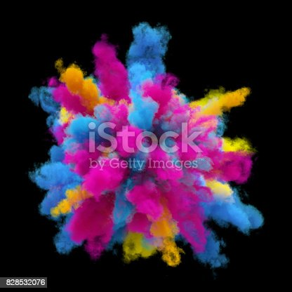 1131535585 istock photo 3d render, explosion of colored powder, colorant, clouds of colorful dust, isolated on black background 828532076