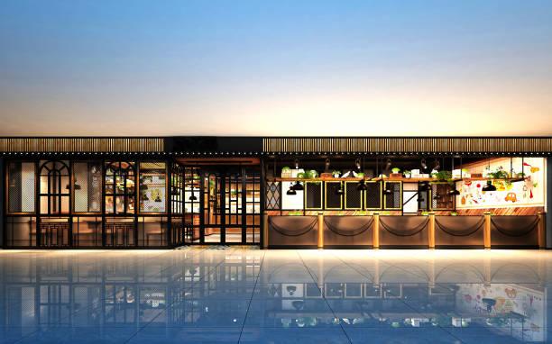 3d render vista exterior do restaurante - facade shop 3d - fotografias e filmes do acervo