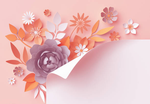 3d render, fall paper flowers, botanical background, page corner curl, fashion, beautiful bouquet, floral arrangement, baby shower invitation, blush pink, rose, peony, daisy, leaves stock photo