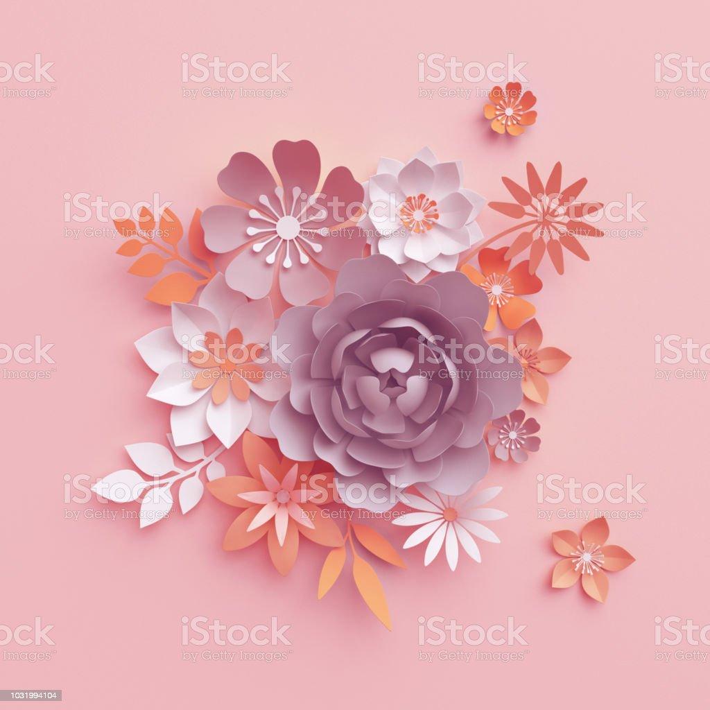 Render 3d Papel Caída Flores Aisladas Sobre Fondo Botánico