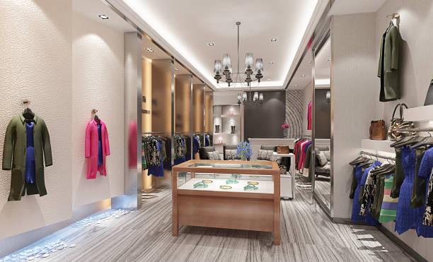 3d render mode winkel - kledingwinkel stockfoto's en -beelden