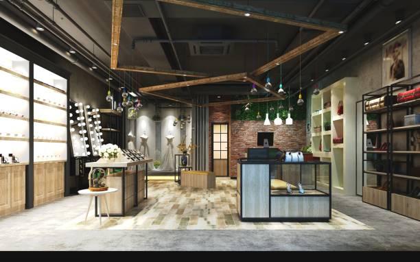 boutique de mode de rendu 3d - vitrine magasin photos et images de collection