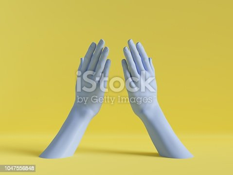 3d render, female hands isolated, minimal fashion background, mannequin body parts, blank space, pink blue pastel colors