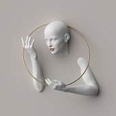 istock 3d render, female mannequin body parts isolated on white background, bold head, beautiful face, hands, golden ring. Blank product display for jewelry shop showcase. Modern minimal fashion concept 1215546064
