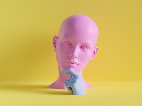 3d render, female mannequin head, hand, fashion concept, isolated object, minimal yellow background, shop display, pink blue body parts, pastel colors