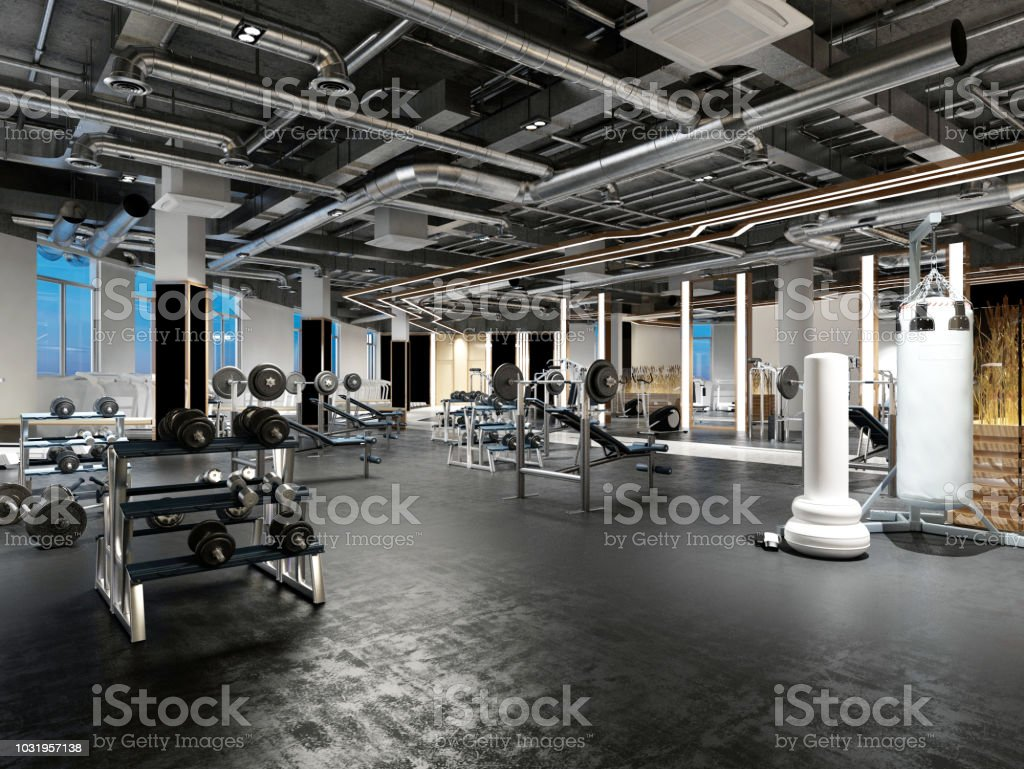 3d render fitness gym saloon royalty-free stock photo