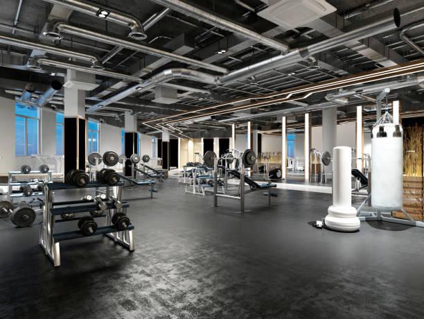 3d render fitness gym saloon - palestre foto e immagini stock