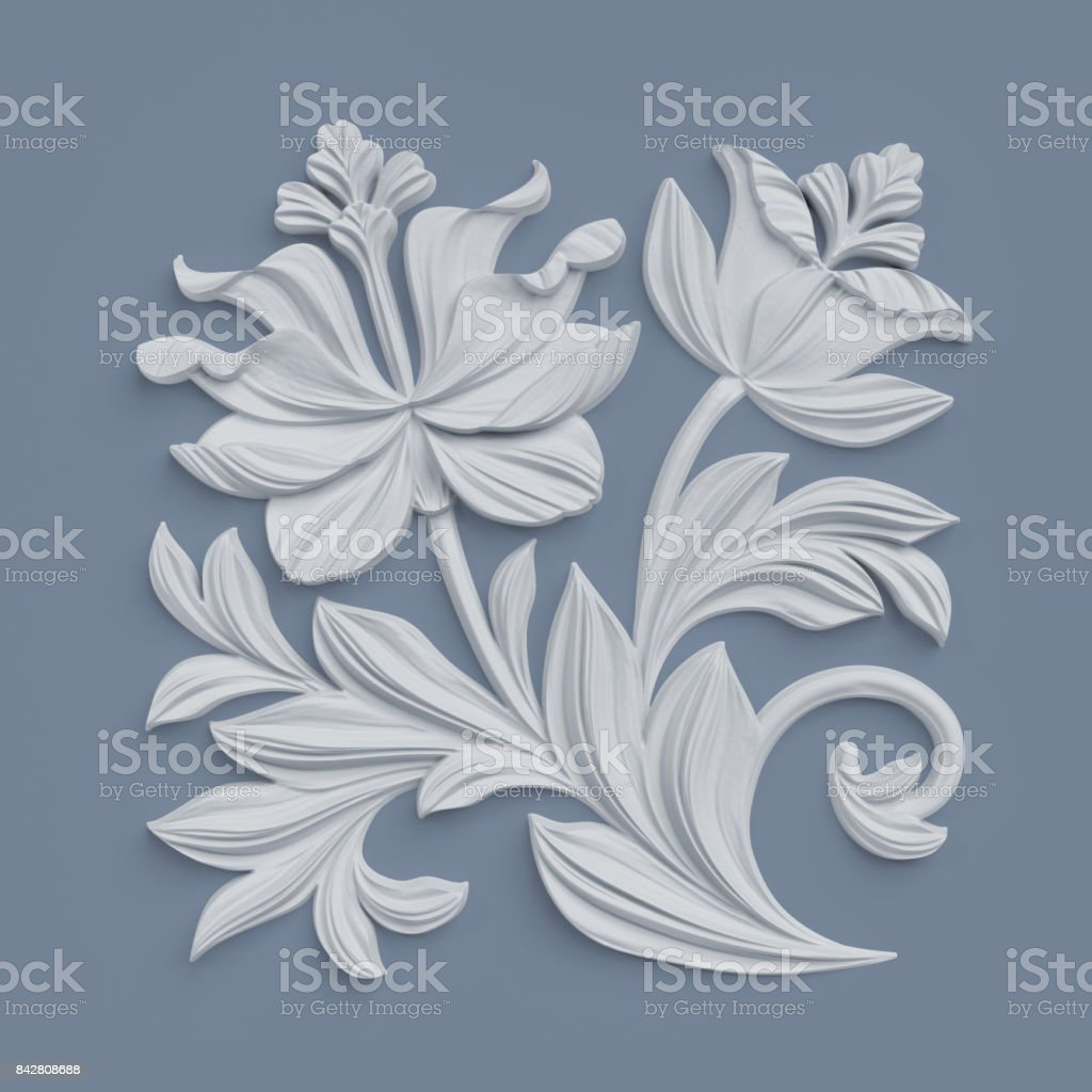 3d render, floral design elements, abstract botanical clip art, classical architectural decor, white stucco, relief flower stock photo