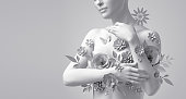 istock 3d render, floral female bust, white mannequin covered with delicate paper flowers, woman silhouette isolated on white background. Breast cancer support. Wedding fashion. Modern botanical sculpture 1249543490