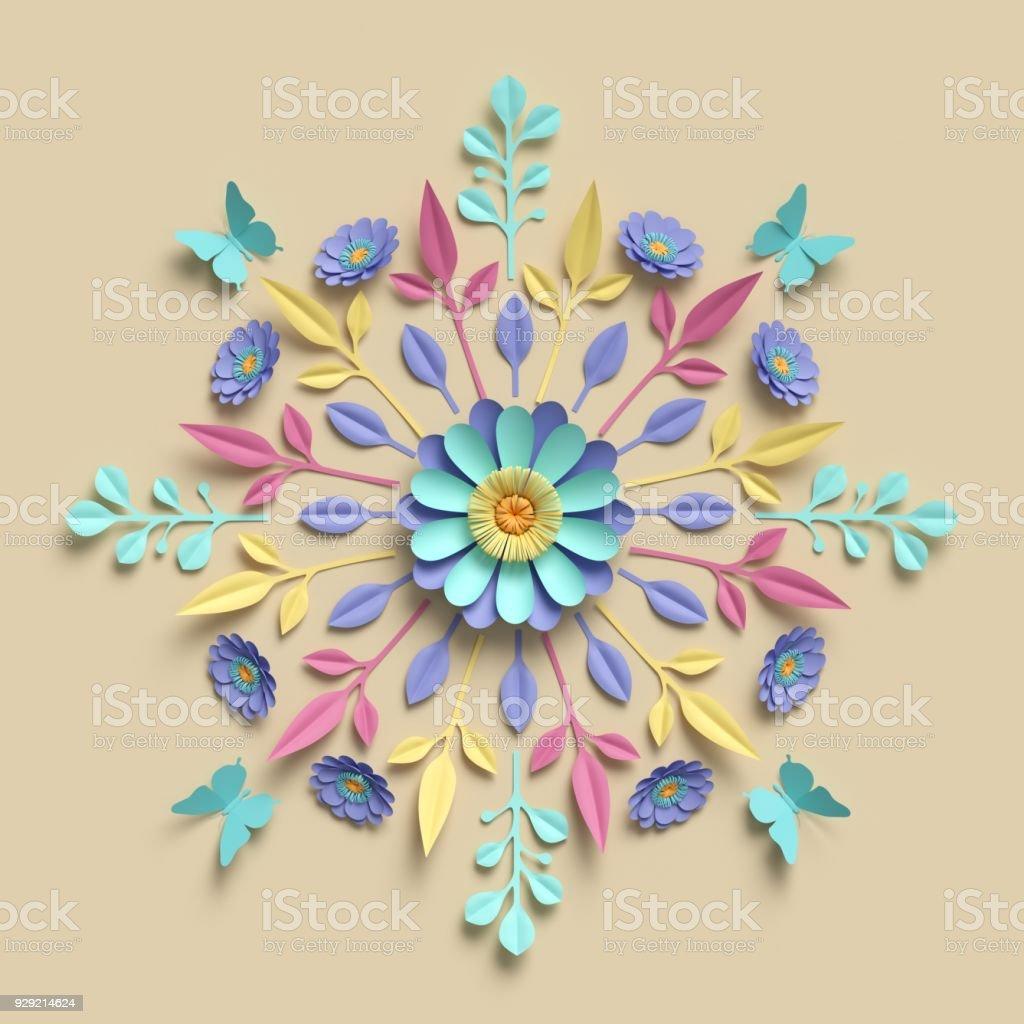 3d render floral kaleidoscope pastel paper flowers symmetrical 3d render floral kaleidoscope pastel paper flowers symmetrical ornament botanical background mightylinksfo