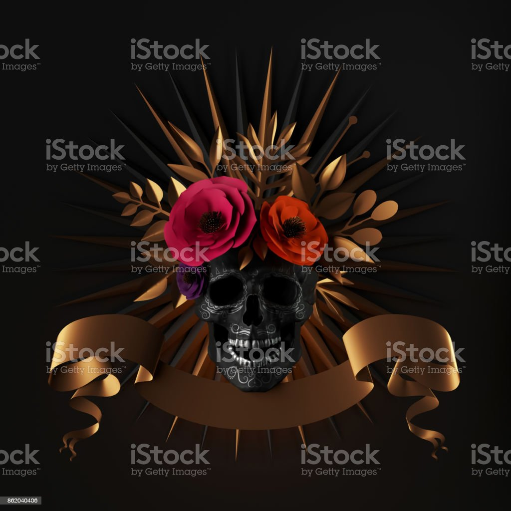 3d render, floral skull, red paper flowers, gold leaves, ribbon tag, Halloween decor, isolated on black background stock photo