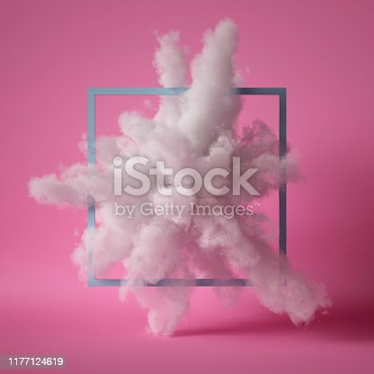 3d render, fluffy white cloud isolated on pink background, dust or mist, object inside square frame