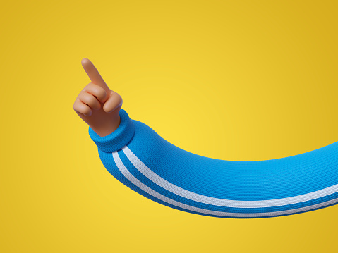 3d render, funny cartoon character hand in blue sleeve with white stripes, finger pointing up, clip art isolated on yellow background. Attention concept