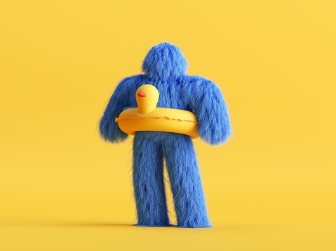 3d render, funny Yeti cartoon character wears safety lifebuoy in the shape of a duck. Funny toy, hairy blue monster clip art isolated on yellow background