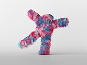 3d render, furry beast cartoon character isolated on white background, happy active pose. Colorful pink blue hairy monster dancing, standing hands up. Person wearing mascot costume