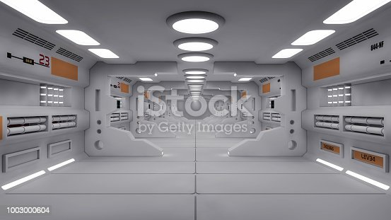830306120 istock photo 3d Render. Futuristic interior design for movie or background 1003000604