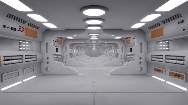 3d render. futuristische innenarchitektur für film oder hintergrund - eingangshalle wohngebäude innenansicht stock-fotos und bilder