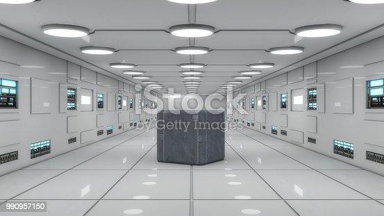830306120 istock photo 3d Render. Futuristic interior design for movie or background 990957150