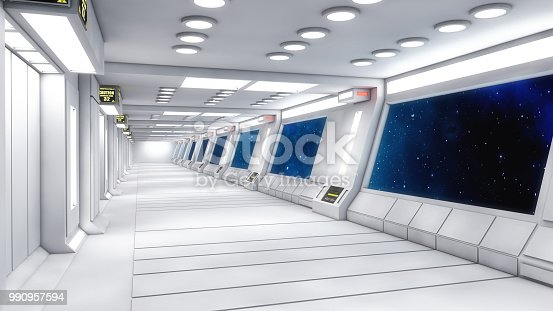 830306120 istock photo 3d Render. Futuristic interior design for movie or background 990957594