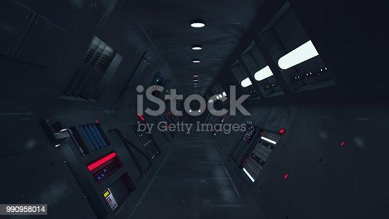 830306120 istock photo 3d Render. Futuristic interior design for movie or background 990958014