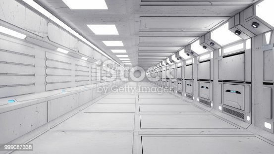 830306120 istock photo 3d Render. Futuristic interior design for movie or background 999087338