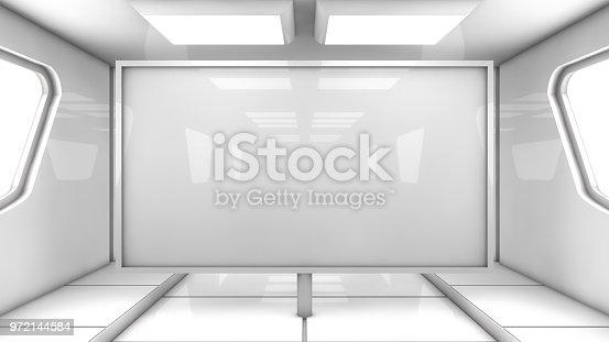 830306120 istock photo 3d Render. Futuristic interior environment 972144584