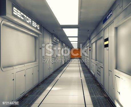 830306120 istock photo 3d Render. Futuristic interior environment 972144732
