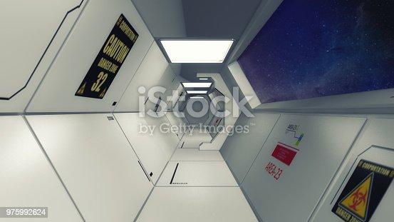 830306120 istock photo 3d Render. Futuristic interior environment 975992624