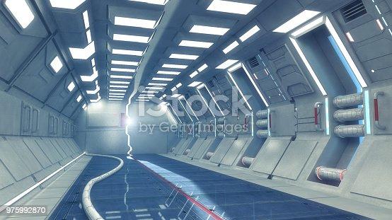 830306120 istock photo 3d Render. Futuristic interior environment 975992870