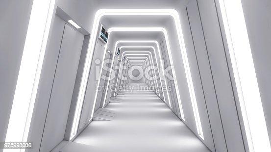 830306120 istock photo 3d Render. Futuristic interior environment 975993036