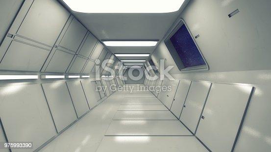 830306120 istock photo 3d Render. Futuristic interior environment 975993390
