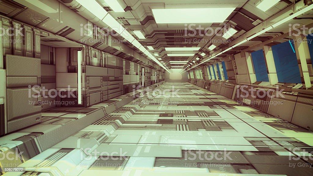 3d Render Futuristic Spaceship Interior Stock Photo